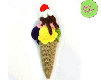 Crochet Pattern Amigurumi, Amigurumi Ice Cream pattern, Amigurumi food pattern, PDF instant download