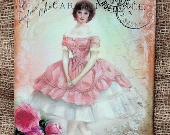 French Pink Ballerina Postcard Gift or Scrapbook Tags or Magnet #341