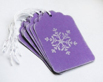 Snowflake Silver Tag Set 8 Blank holiday gift present tag christmas party purple