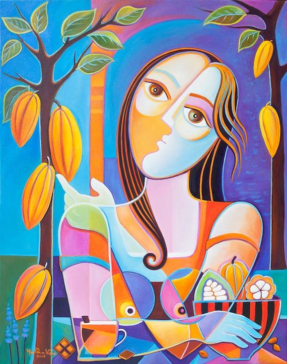 Cubisme Peinture  Lhuile Abstrait Scoubidou Vera Chocolatier