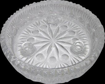 Princess House Crystal Fostoria centerpiece 3 tapered candle holder,charming glass,Shabby Chic,tabletop,Home decor