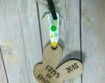Babies First Easter - Bunny Shaped Tag or Ornament - Wooden Engraved Easter gift