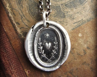 True Love Guides Me Wax Seal Pendant Necklace - Love Necklace - Love Guides the Way - E2160