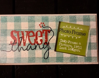 DANIELSON DESIGNS Sweet Thang Blue Gingham Print Desk Wall Wood Sign Photo Frame Farmhouse Cottage Chic