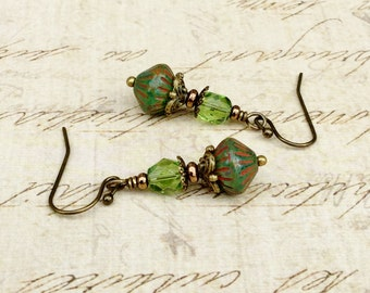 Green Earrings,  Olive Green Earrings, Rustic Earrings, Picasso Earrings, Victorian Earrings, Czech Glass Beads, Unique Earrings, Gifts