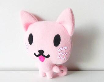 Plush pink fleece cat