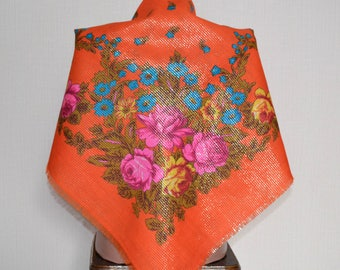Russian head shawl Orange scarf Ukrainian shawl with flowers Vintage wool shawl Floral scarf  Lurex shawl  Russian scarf Floral shawl