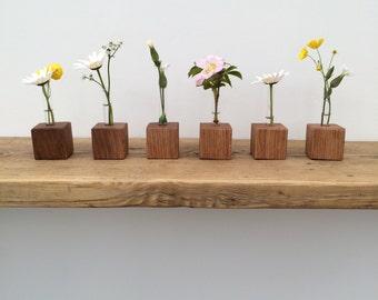 Solid Oak base Handmade Test tube vase
