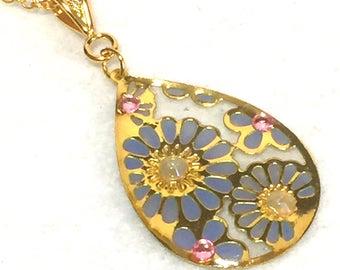 """Necklace """"antique flower - pale blue"""""""