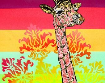 Giraffe Zentangle Art Print