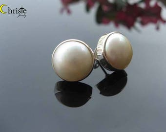 White Mabe Pearl Sterling Silver Stud Post Earrings 13mm