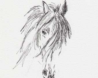 Friesian Horse Sketch,Horse Pen and Ink Drawing, 5x7 Equine Original Art