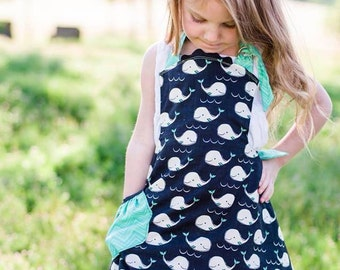 Reversible Girl's Apron Kids Cooking Apron with Whales in Teal and Black