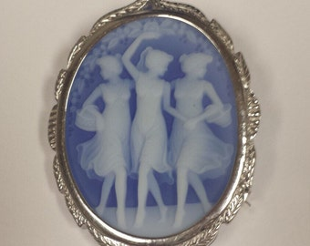 Vintage 14K White Gold Cameo Brooch with Carved Three Virtues on Blue Agate