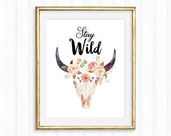 Stay Wild, Nursery Print, Tribal Skull Decor, Typography Poster, Bedrom Decor, Kids Quote, Children, Watercolor Floral skull, Boho Chic