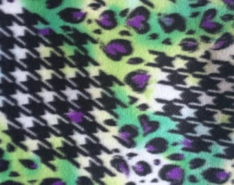 Fabric by the 1/2 Yard - Colorful Cheetah Skin and Houndstooth Fleece Fabric