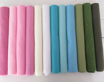 12 sheets wool blend felt, Welcome Home Inspired collection for matching floss, pinks, neutrals, blues and green felts