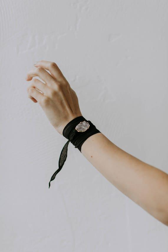 Druzy Silk Wrap Bracelet // druzy quartz geode stone on silk ribbon wrap
