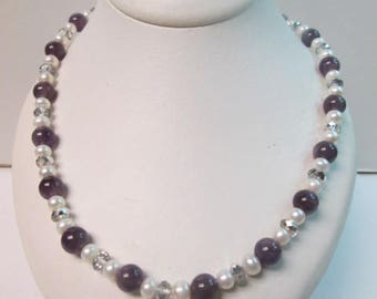 """Amethyst and Pearl Handmade Necklace 18"""" long Sterling Silver Clasp Brand New"""