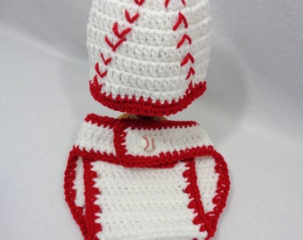 White Baseball Cap with Diaper Cover, Baseball with Stitches Baby Hat, MADE TO ORDER by Charlene, Gift for Baby Girl or Boy, Photo Prop