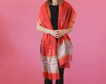NEW Indian Silk Stole Red Silk Stole Ikat Fabric Scarf Dupatta Scarf Opera Scarf Wedding Silk Stole Bridal Shawl Evening Wrap Gift for her