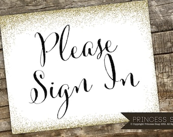 Please Sign In Wedding Sign, Glitter Wedding Sign, Rustic Wedding, Wedding Sign, Sign In Printable, Sign In Guest Table Sign