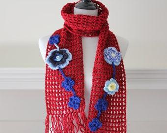 Crochet Long Scarf Dark Red Neckwarmer, Scarf