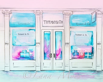 Tiffany Inspired Print from Original Watercolor Painting - Tiffany's Illustration - Lana Moes Illustration - Fashion Illustration