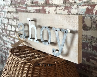 "Ahoy Sign Natical Beach Home Decor 9"" x 23"""