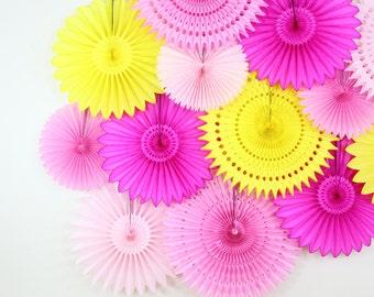 Birthday Decorations- Pink Lemonade- First birthday, baby shower decor, Set of 13 Tissue Paper Flower Fans