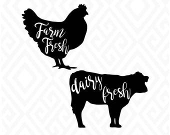 Farm Fresh, Chicken Svg, Cow Svg, Farm, Wall Decor, Framed Farm Life; SVG, DXF, AI, Eps and Pdf, Png Cutting Files, Instant Download