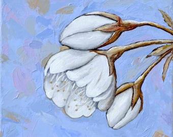 Sakura -  Blue - Wall Art Print - White Cherry Blossom Collection - Print 10X10