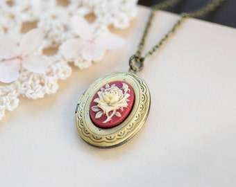 Locket Necklace, Rose Cameo Locket Necklace, Red and Ivory Floral Cameo, Antique Brass Oval Locket Necklace, Gift for Her, Valentines gift
