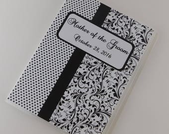 Wedding Photo Album Personalized Mother of the Groom Bridal Shower Gift Anniversary Engagement 4x6 or 5x7 picture Black Damask 727