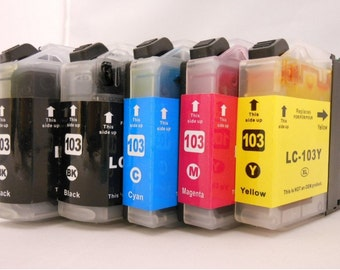 High Quality Brother Replacement LC103XL Ink Cartridges Bundle (2 Black 1 Cyan 1 Magenta 1 Yellow )