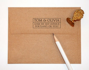Return Address Stamp, custom address stamp, black self inking stamp, rubber stamp wood handle