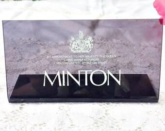 Minton Advertising Sign: Minton Store Plaque, Minton Sign, Minton Display Stand, Minton Plastic Sign