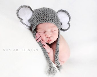 Elephant Hat - Newborn Photoshoot Prop - Elephant Ears Hat