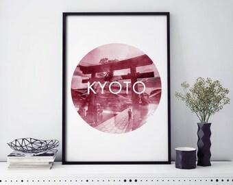 Red Torii Gate, Kyoto, Japan Watercolour Print Wall Art | 4x6 5x7 A4 A3 A2