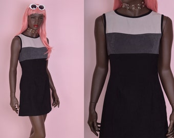 90s Color Block Dress/ US 7/ 1990s/ Tank/ Sleeveless