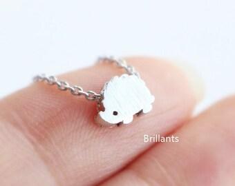 Brushed Finish Hedgehog necklace, Tiny necklace, Animal necklace, Everyday necklace, Bridesmaid gift, Wedding necklace
