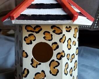 Hand Painted Leopard Bird House