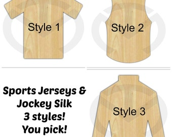 Jersey and Jockey Silk - 01567- Unfinished Wood Laser Cutout, Door Hanger, Wreath Accent, Ready to Personalize, Various Shapes and Sizes