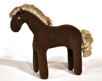 Natural style Cuddly Pony, made of soft corduroy in the color brown with a silver mane, gift for him