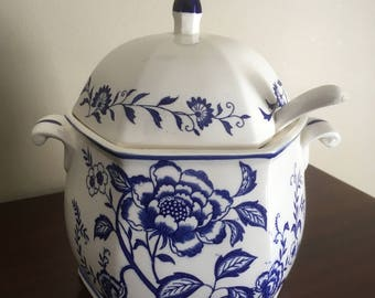 Vintage Blue Floral Pattern Soup Tureen with Ladle #1059