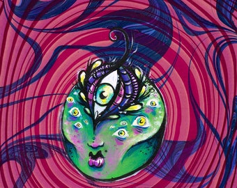 The Seer Green Goddess Head original acrylic painting