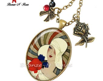 Bronze vintage glass costume jewelry necklace retro Lady with Hat cabochon ° ° °