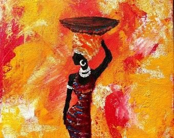 Afro african art, african art painting,afro painting, small original art, 20x20cm