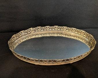 Swanky unmarked vintage mirrored filigree metal vanity tray