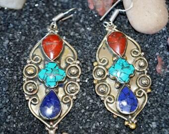 Coral Turquoise lapis Earrings,Shaman Ethnic Silver,Boho,Nepal Jewelry,Tribal Vintage Earrings,Silver Antique Earrings Afghan Jewelry